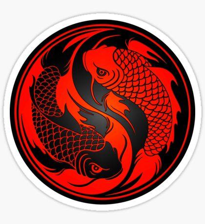 Roter und schwarzer Yin Yang Koi Fisch Sticker