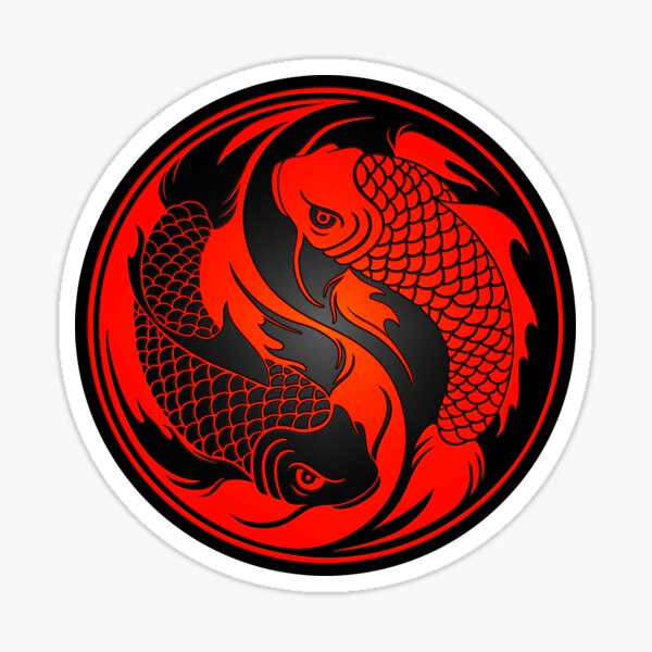 Red and Black Yin Yang Koi Fish Sticker