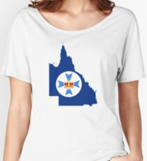Flag Map of Queensland  Women's Relaxed Fit T-Shirt