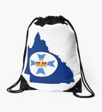 Flag Map of Queensland  Drawstring Bag