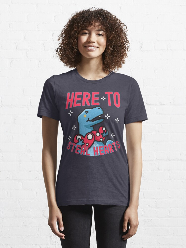 Alternate view of Here to Steal Hearts Cute Dinosaur Essential T-Shirt