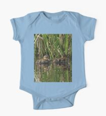 Ducklings Swimming Through Grass One Piece - Short Sleeve