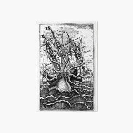 Vintage Kraken attacking ship illustration Art Board Print