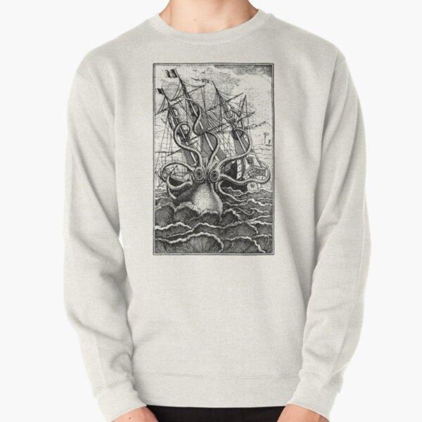 Vintage Kraken attacking ship illustration Pullover Sweatshirt