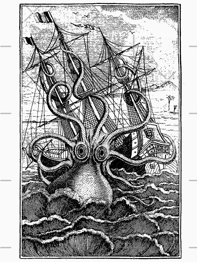 Vintage Kraken attacking ship illustration by monsterplanet