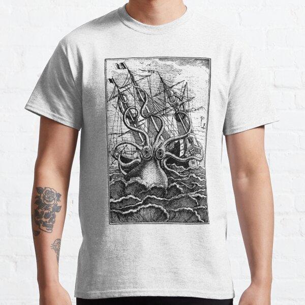 Vintage Kraken angreifende Schiffsillustration Classic T-Shirt