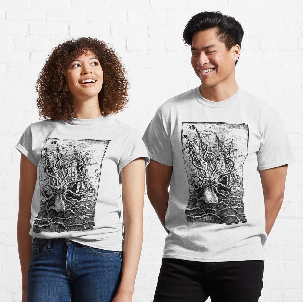 Vintage Kraken attacking ship illustration Classic T-Shirt