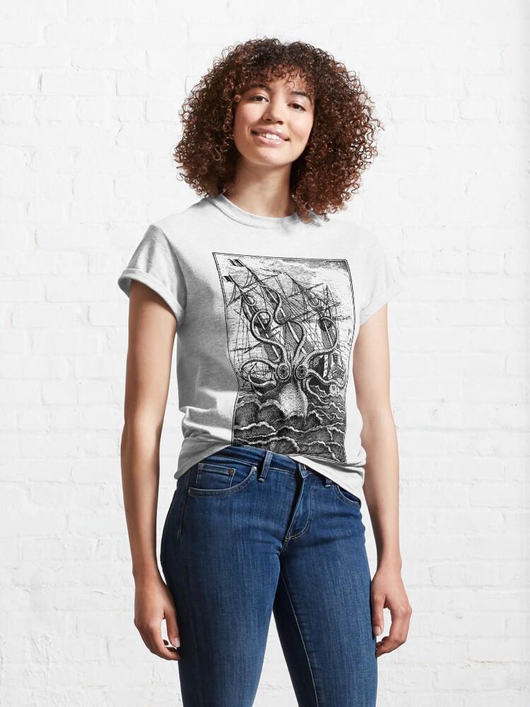 Alternate view of Vintage Kraken attacking ship illustration Classic T-Shirt