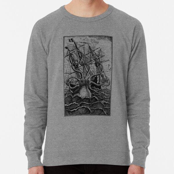Ilustración de barco de ataque Kraken vintage Sudadera ligera