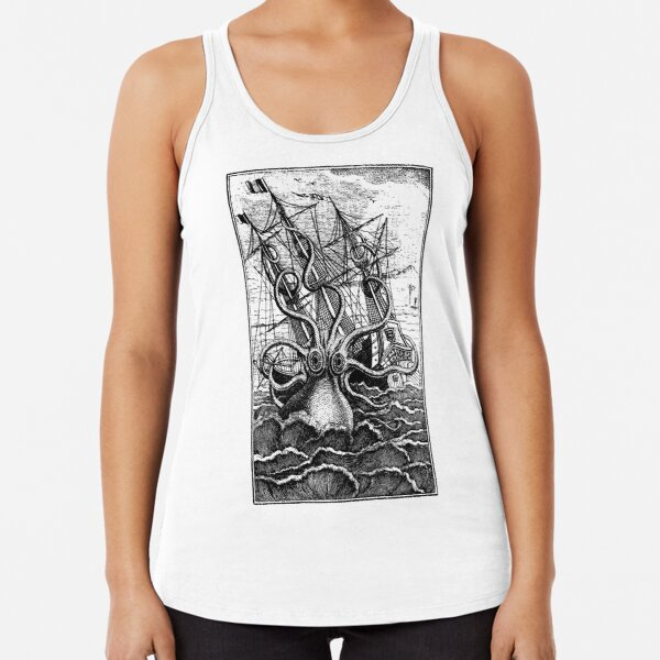Vintage Kraken attacking ship illustration Racerback Tank Top