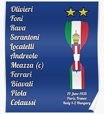 Italy 1938 World Cup Final Winners Poster