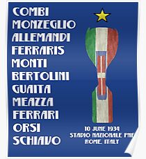 Italy 1934 World Cup Final Winners Poster
