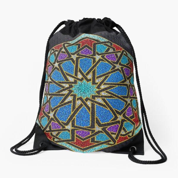 Colorfull mosaic - dot geometry art Drawstring Bag