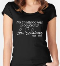 My Childhood was Produced by Lou Scheimer - White Font Women's Fitted Scoop T-Shirt