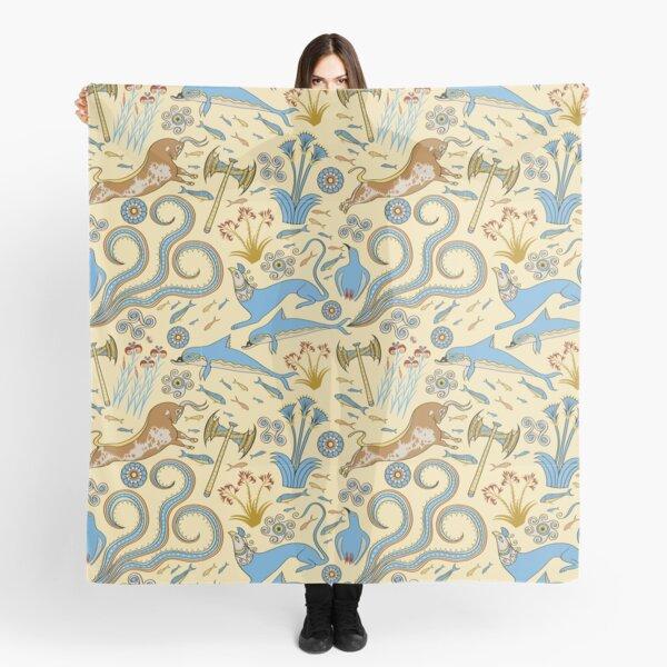 Minoan Fresco Motifs Pattern Scarf