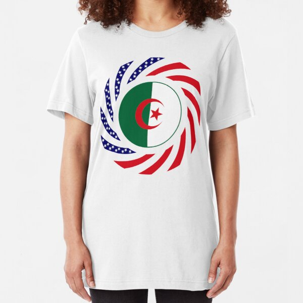 Algerian American Multinational Patriot Flag Slim Fit T-Shirt