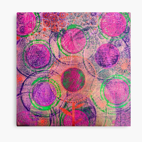 Circles and flowers abstract art Metal Print