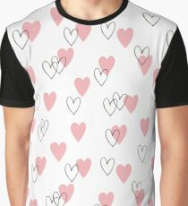 Pattern with pink and blach hearts Graphic T-Shirt