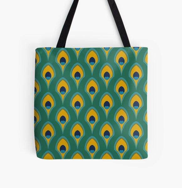 The Minimalist Peacock All Over Print Tote Bag