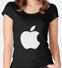 White Official Apple logo HD Women's Fitted Scoop T-Shirt