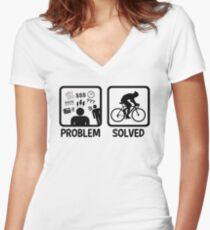 Funny Problem Solved Cycling Women's Fitted V-Neck T-Shirt