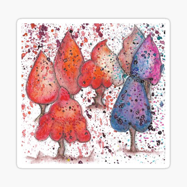 Brightly coloured hand painted abstract trees Sticker