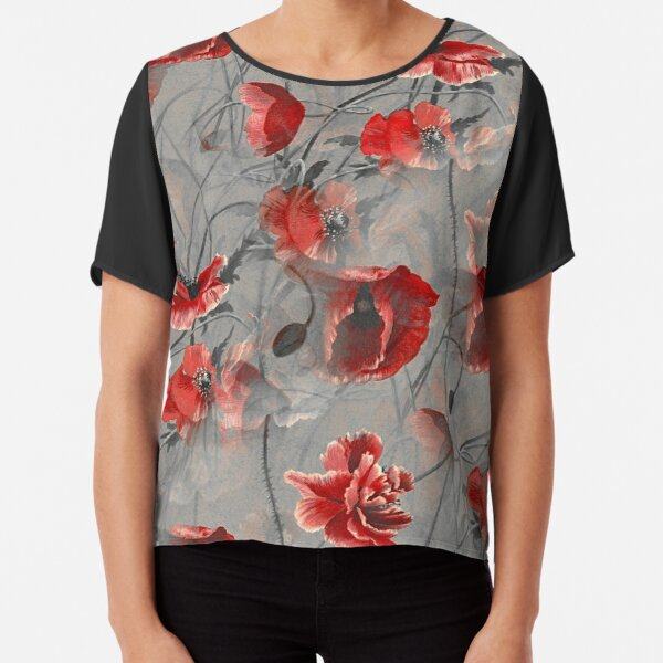 Ornamental Pattern With Red Color Chiffon Top
