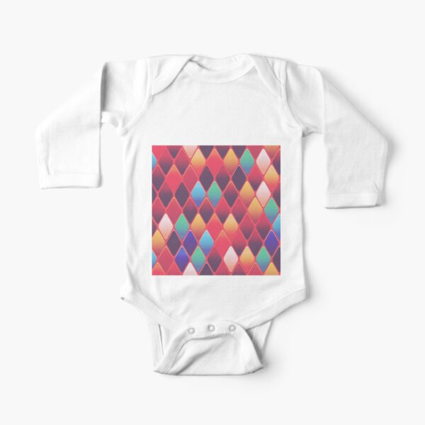 Ornamental Pattern With Red Color Long Sleeve Baby One-Piece