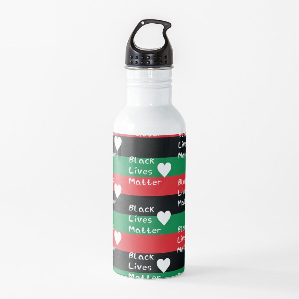 Black Lives Matter Pan-African Flag White Heart  Water Bottle
