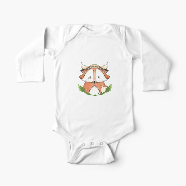 Viking Fox Onsie and Toddler Shirts Long Sleeve Baby One-Piece