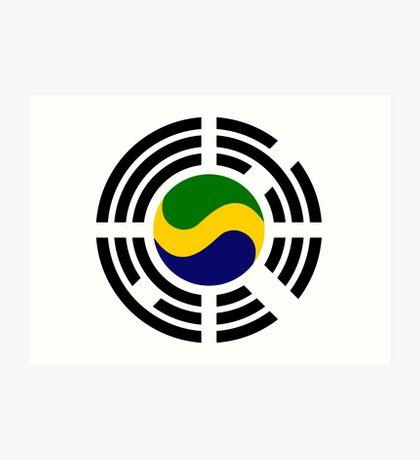 Korean Gabonese Multinational Patriot Flag Series Art Print