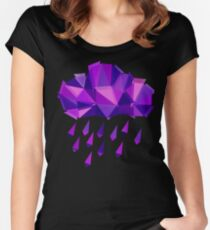 Purple Rain Pattern - Dark version Women's Fitted Scoop T-Shirt