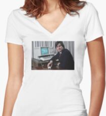 Steve Jobs and the Lisa Women's Fitted V-Neck T-Shirt