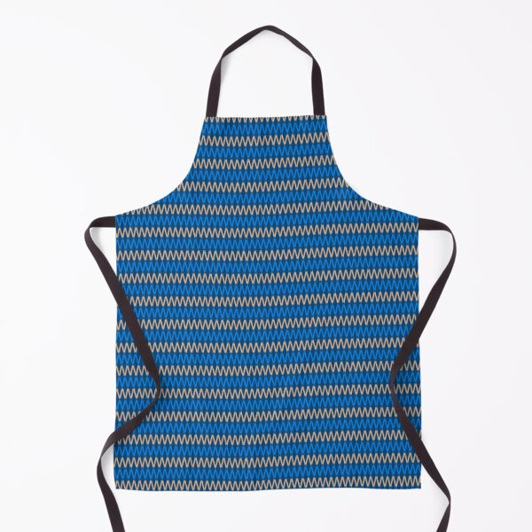 Navy Blue and White Cowboys Vintage Apron with matching Mitten