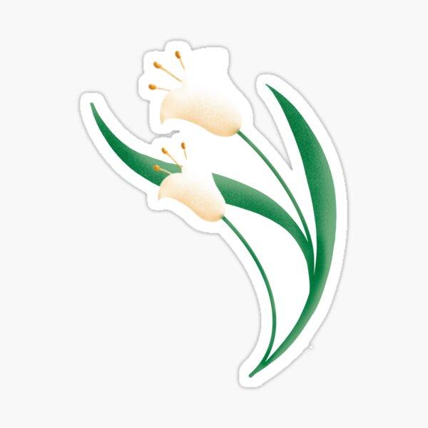 Pequeñas Tulipas Blancas, Estampado Floral con Flores Campanillas, Lirio del Valle, Ilustración Floral Pegatina