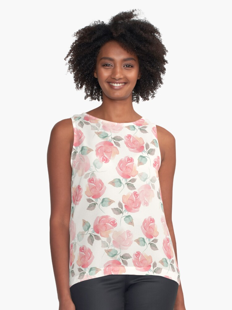 Hand-drawn beautiful roses. Seamless watercolor pattern Contrast Tank Front