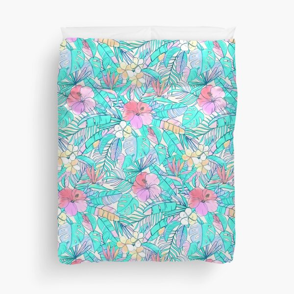 Pretty Pastel Hawaiian Hibiscus Print Duvet Cover