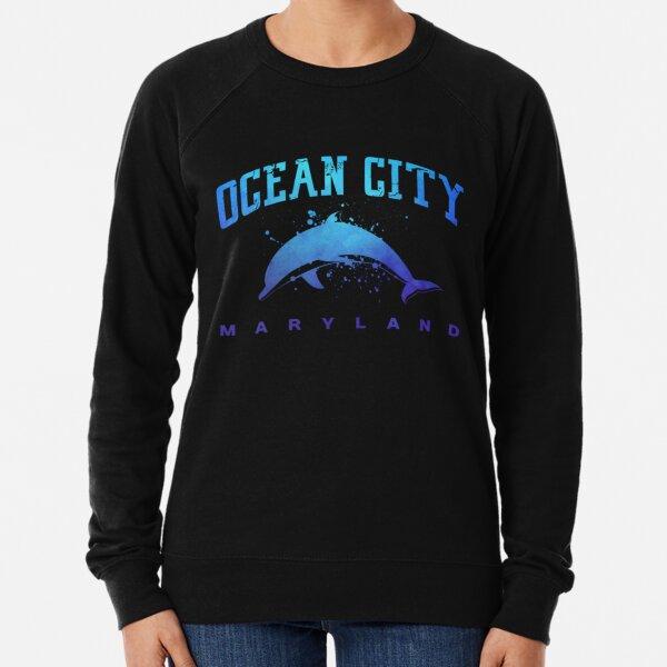 OCEAN-CITY-MARYLAND-Dolphin-Beach-Fishing-Family-Vacation-Pullover Lightweight Sweatshirt