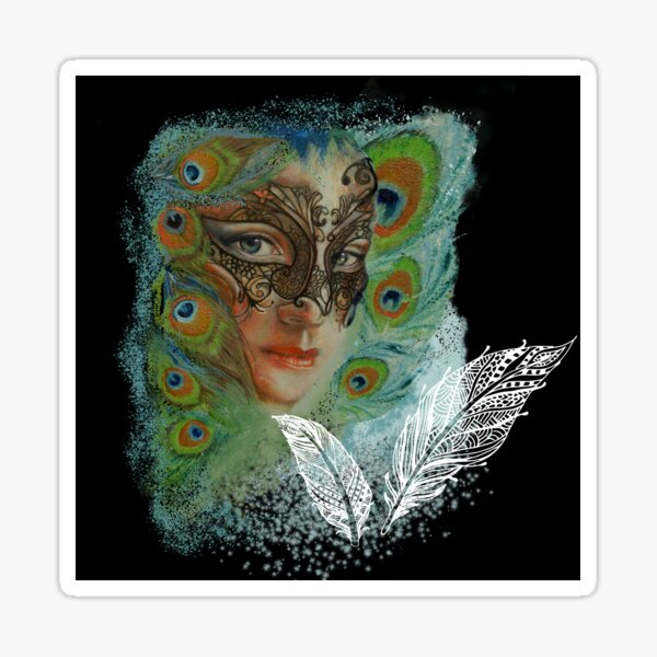 Mask lady and Peacock Feathers in Black  Sticker