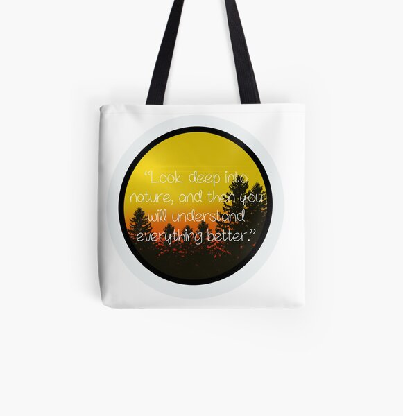Nature Art with Quote All Over Print Tote Bag
