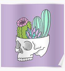 Skull succulent feminist skeleton cactus southwest girly tumblr pastel print Poster