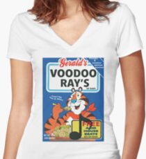 VOODOO RAY'S CEREAL BOX Women's Fitted V-Neck T-Shirt