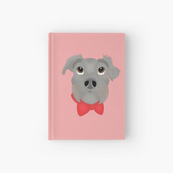 Cartoony Schnauzer Terrier Mix Head Wearing a Bow Illustration Hardcover Journal