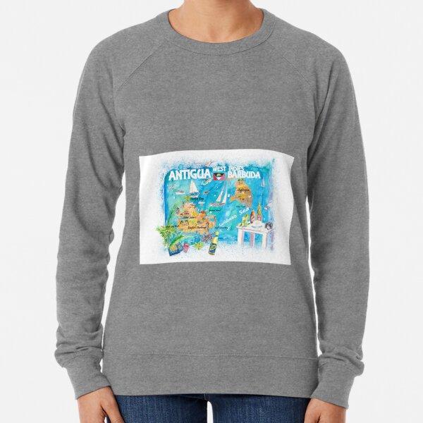 Antigua Barbuda Antilles Illustrated Caribbean Travel Map with Highlights of West Indies Island Dream Lightweight Sweatshirt
