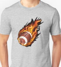 Realistic American football in the fire Unisex T-Shirt