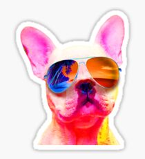 FRENCH BULLDOG DOG WEARING SUNGLASSES COLORFUL PUPPY RAINBOW Sticker
