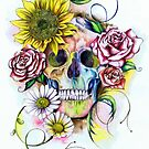 Skull with flowers by IsabelSalvador