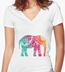 Warm Elephant Fitted V-Neck T-Shirt