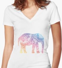 Pastel Elephant Women's Fitted V-Neck T-Shirt