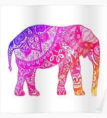 Pink and Orange Elephant Poster